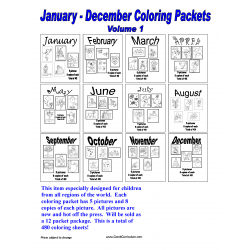 12 Month Coloring Packet Vol. 1